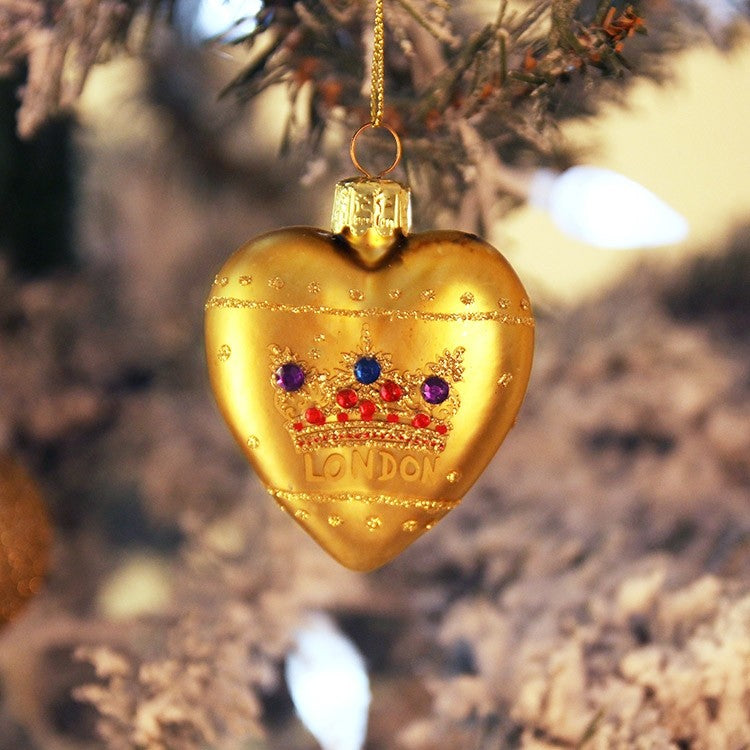 """London"" Glass Heart with Crown - Gold, GG-Gisella Graham, Putti Fine Furnishings"