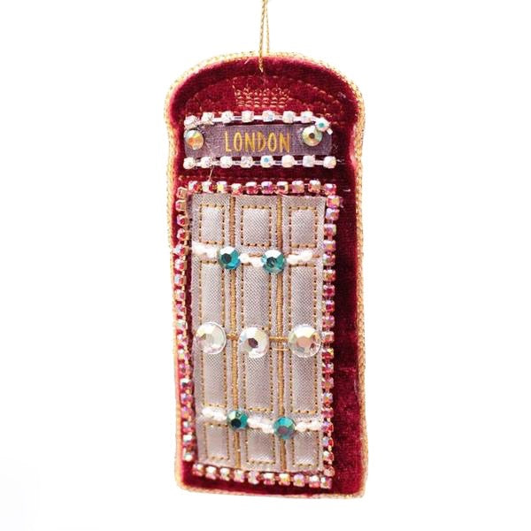 Velvet Beaded British Telephone Booth - Putti Christmas Canada