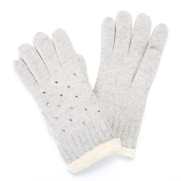 Crystal Stars Knit Gloves - Grey