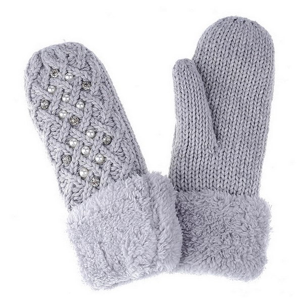 Diamante and Pearls Basket Weave Mittens - Grey