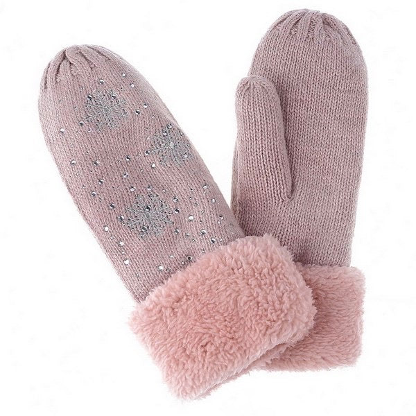 Crystal Snowflake Mittens - Pink | Putti Fine Fashions