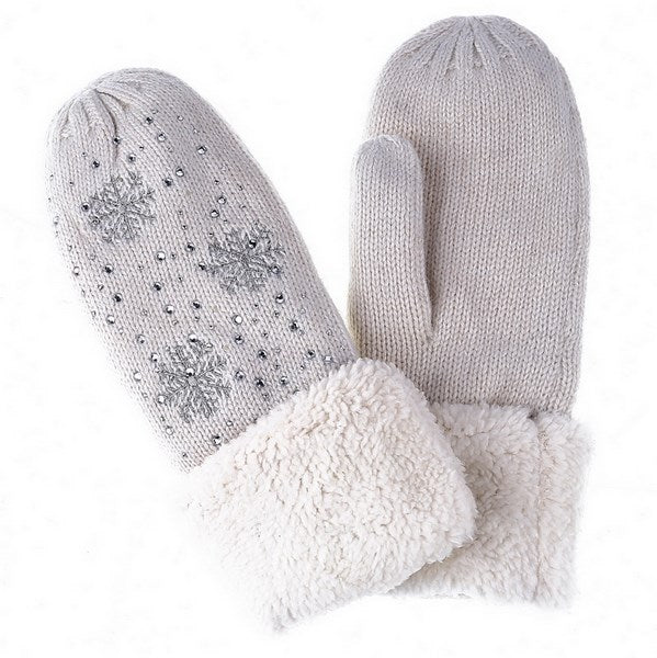 Crystal Snowflake Mittens - Ivory | Putti Fine Fashions
