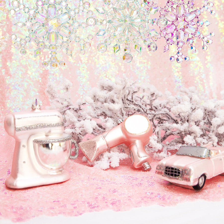 Kurt Adler Pink Hairdryer Glass Ornament | Putti Christmas