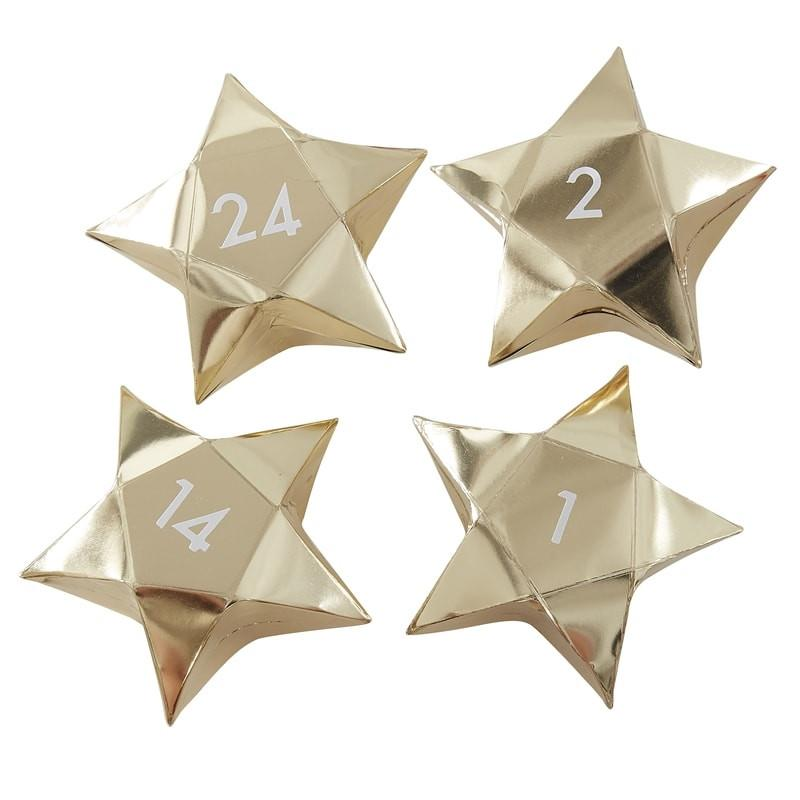 Gold Star Advent Calendar Boxes | Putti Christmas Celebrations