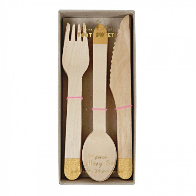 Wooden Cutlery Set - Gold, MM-Meri Meri UK, Putti Fine Furnishings