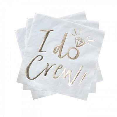 """I Do Crew"" Gold Foiled Paper Napkins - Lunch, GR-Ginger Ray UK, Putti Fine Furnishings"