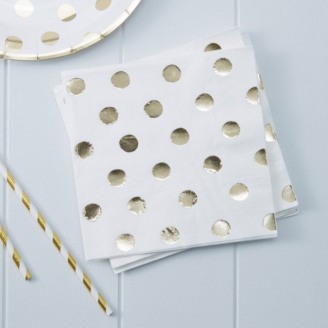 Polka Dot Napkins - Gold Foil
