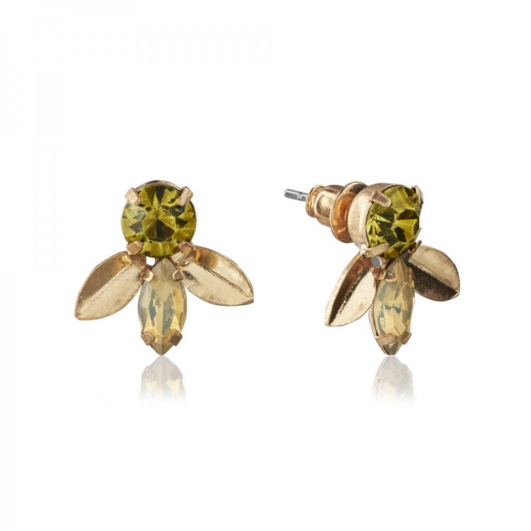 "Lovett & Co. ""Laurel Leaf"" Earrings - Khaki Green"