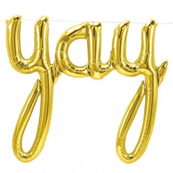 "Gold Foil ""Yay"" Script Balloon Banner"