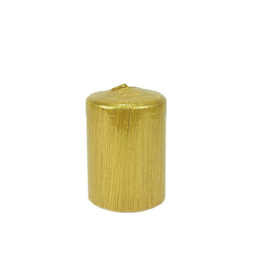 Metallic Gold Pillar Candle - Small