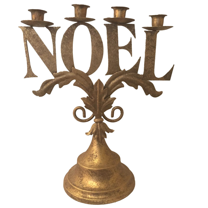 Gold Noel Candle Holder -  Christmas - WCI-Winward Canada - Putti Fine Furnishings Toronto Canada