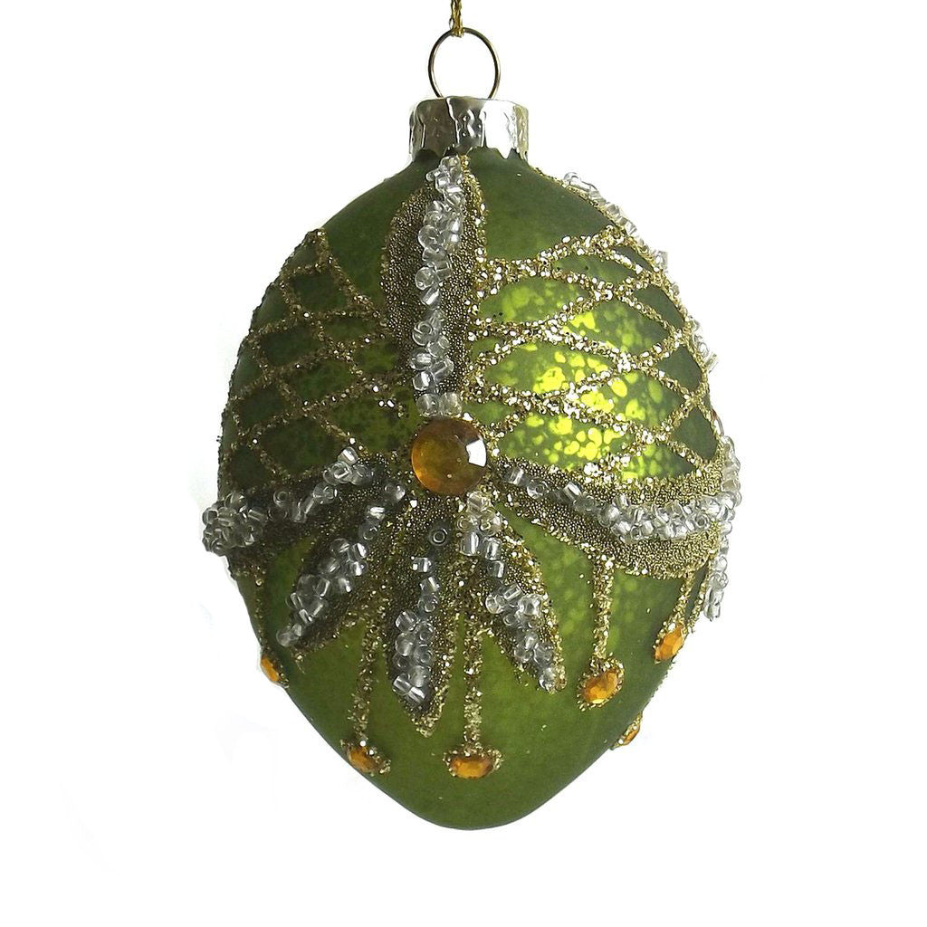Green Glass Egg Ornament with Swags -  Christmas - Fil de Fer Enterprises - Putti Fine Furnishings Toronto Canada