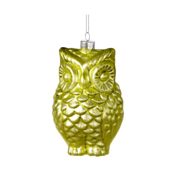 Green Glass Owl Ornament