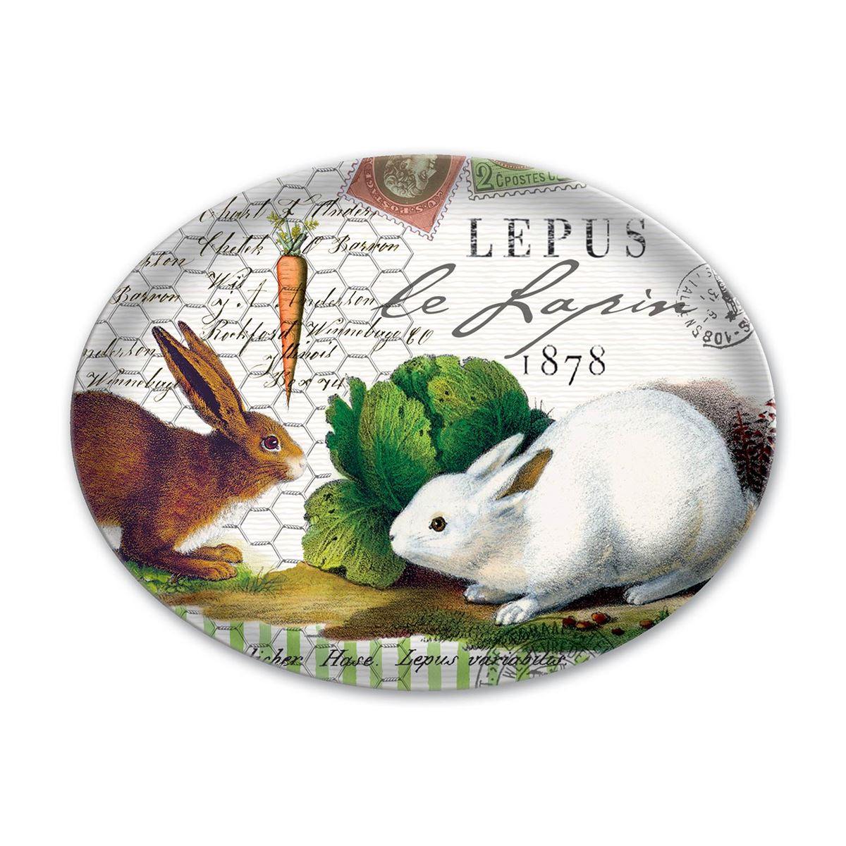 "Michel Design Works ""Lapin"" Bunnies Oval Glass Soap Dish 