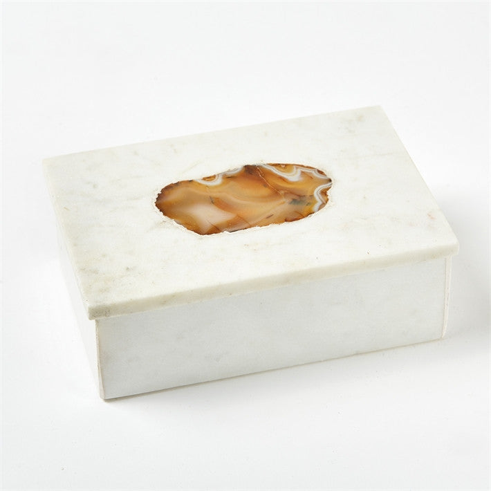 White Marble Boxes set with Agate, TH-Tozai Home, Putti Fine Furnishings