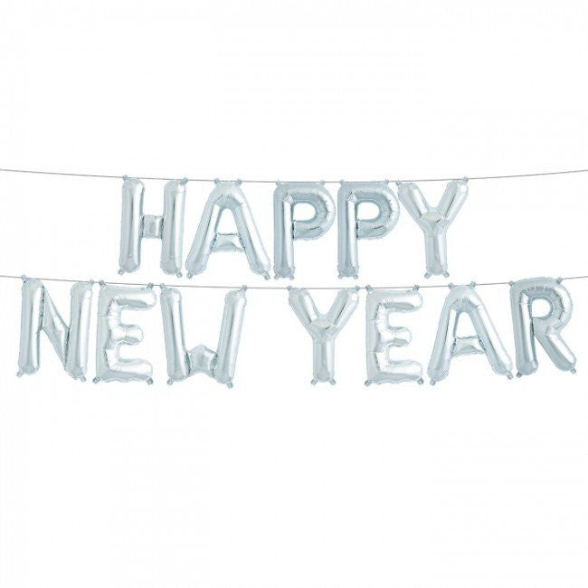 """Happy New Year"" Balloon Banner - Silver Foil, SE-Surprize Enterprize, Putti Fine Furnishings"