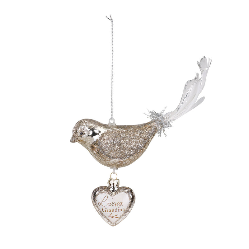 Demdaco Bird Dangle Heart Glass Ornament - Grandma | Putti Christmas