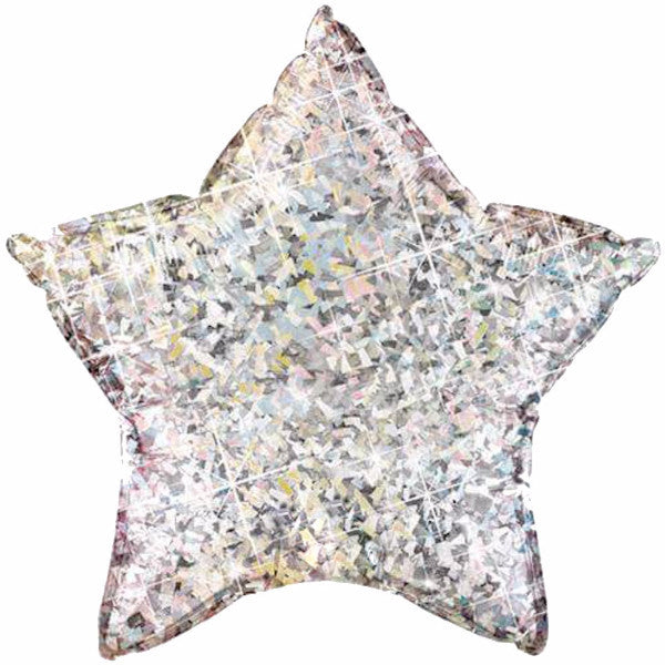 Silver Holographic Star Microfoil Balloon