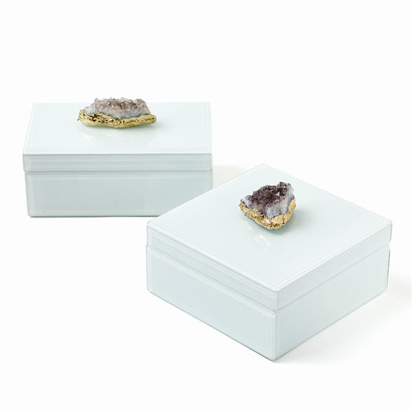 "Amethyst Geode White Glass Boxes-Accessories-TH-Tozai Home-Rectangular 7""w x 4 1/4""d x 3""h-Putti Fine Furnishings"