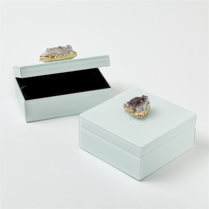 Tozai Amethyst Geode White Glass Boxes, TH-Tozai Home, Putti Fine Furnishings
