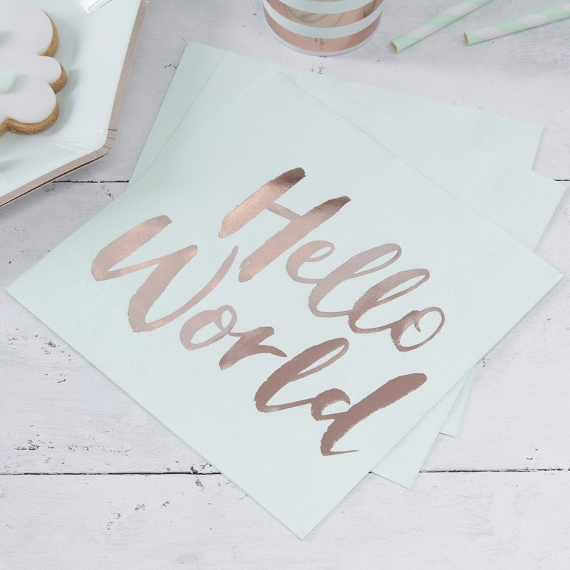"""Hello World"" Mint & Rose Gold Paper Napkins - Luncheon, GR-Ginger Ray UK, Putti Fine Furnishings"