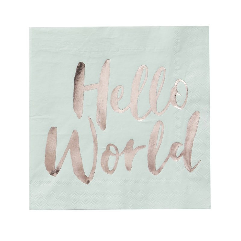 """Hello World"" Mint & Rose Gold Paper Napkins - Luncheon"