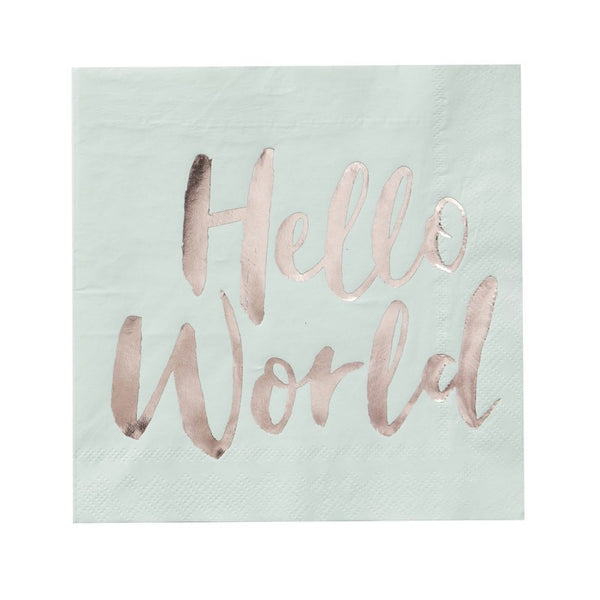 """Hello World"" Mint & Rose Gold Paper Napkins - Luncheon-Party Supplies-GR-Ginger Ray UK-Putti Fine Furnishings"