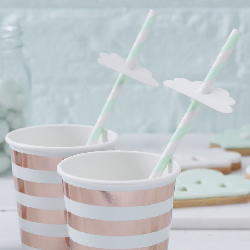 """Hello World"" Mint & Rose Gold Paper Cups"