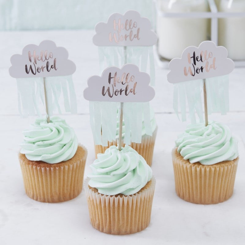 """Hello World"" Mint & Rose Gold Cup Cake Picks"