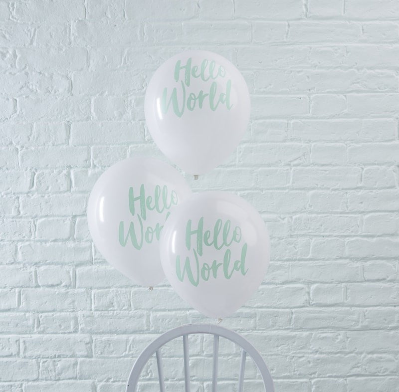 """Hello World"" Mint & White Balloons, GR-Ginger Ray UK, Putti Fine Furnishings"