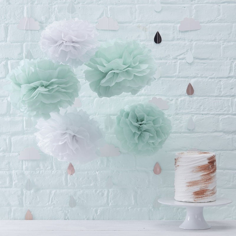 """Hello World"" Mint Tissue Pom Pom, GR-Ginger Ray UK, Putti Fine Furnishings"