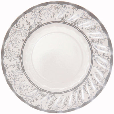 Party Porcelain Silver Small Paper Plates, TT-Talking Tables, Putti Fine Furnishings