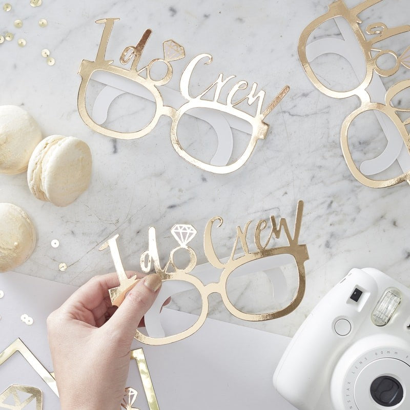 """I Do Crew"" Gold Foil Fun Party Glasses, GR-Ginger Ray UK, Putti Fine Furnishings"