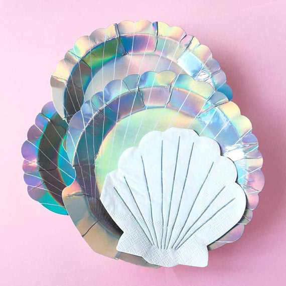 "Meri Meri ""Let's be Mermaids"" Shell Paper Plates - Small -  Party Supplies - MM-Meri Meri UK - Putti Fine Furnishings Toronto Canada - 1"