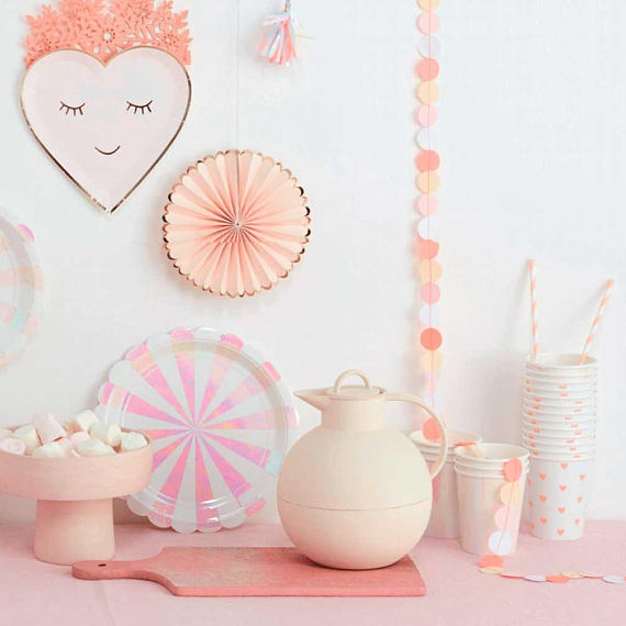 Meri Meri Blushing Heart Paper Plates - Small, MM-Meri Meri UK, Putti Fine Furnishings