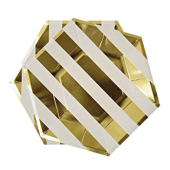 Gold & White Striped - Large Paper Plates -  Party Supplies - Meri Meri UK - Putti Fine Furnishings Toronto Canada - 1