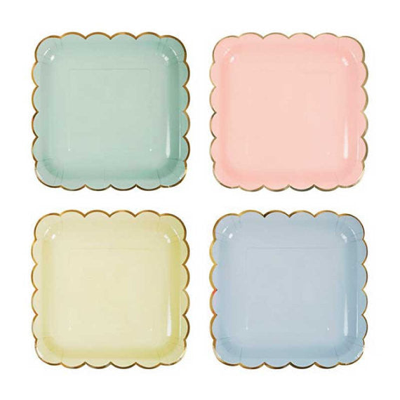 Meri Meri Pastel - Small Square Plates -  Party Supplies - Meri Meri UK - Putti Fine Furnishings Toronto Canada - 1