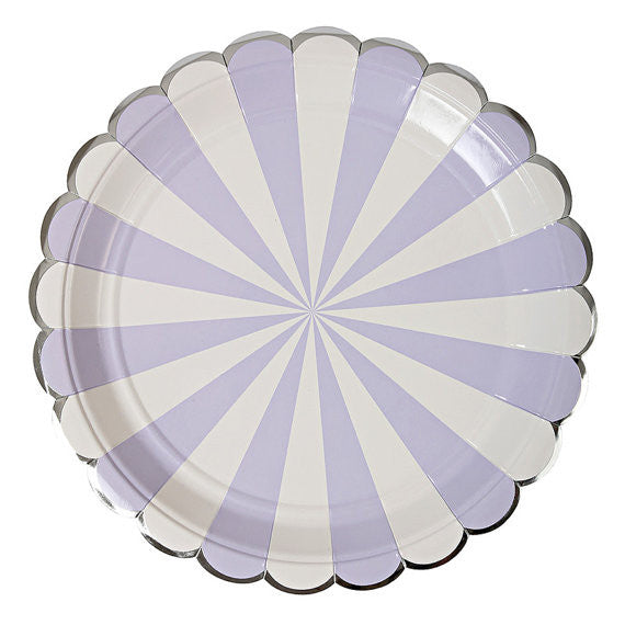 "Meri Meri ""Toot Sweet"" Lavender and White Striped - Large  Paper Plate"
