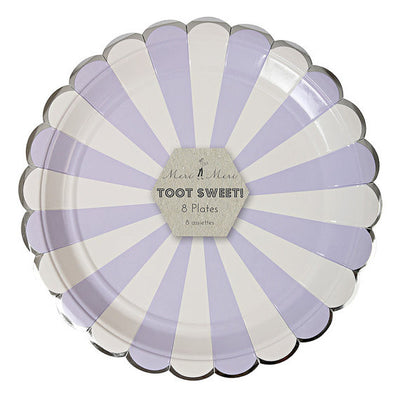 """Toot Sweet"" Lavender and White Striped - Large  Paper Plate -  Party Supplies - Meri Meri UK - Putti Fine Furnishings Toronto Canada - 2"