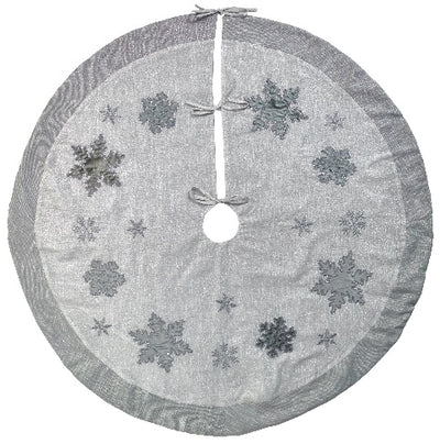 Silver Snowflake Round Tree Skirt | Putti Christmas Celebrations Canada