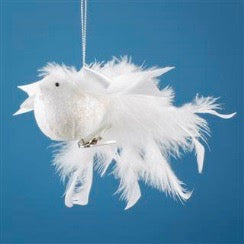 White Feather Bird with Satin Bow