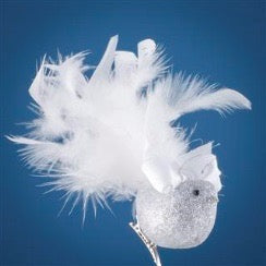 Silver Feather Bird with Satin Bow