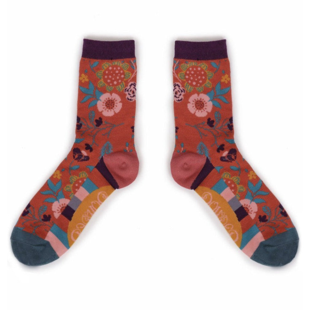 Powder Scandi Floral Ankle Sock - Tangerine