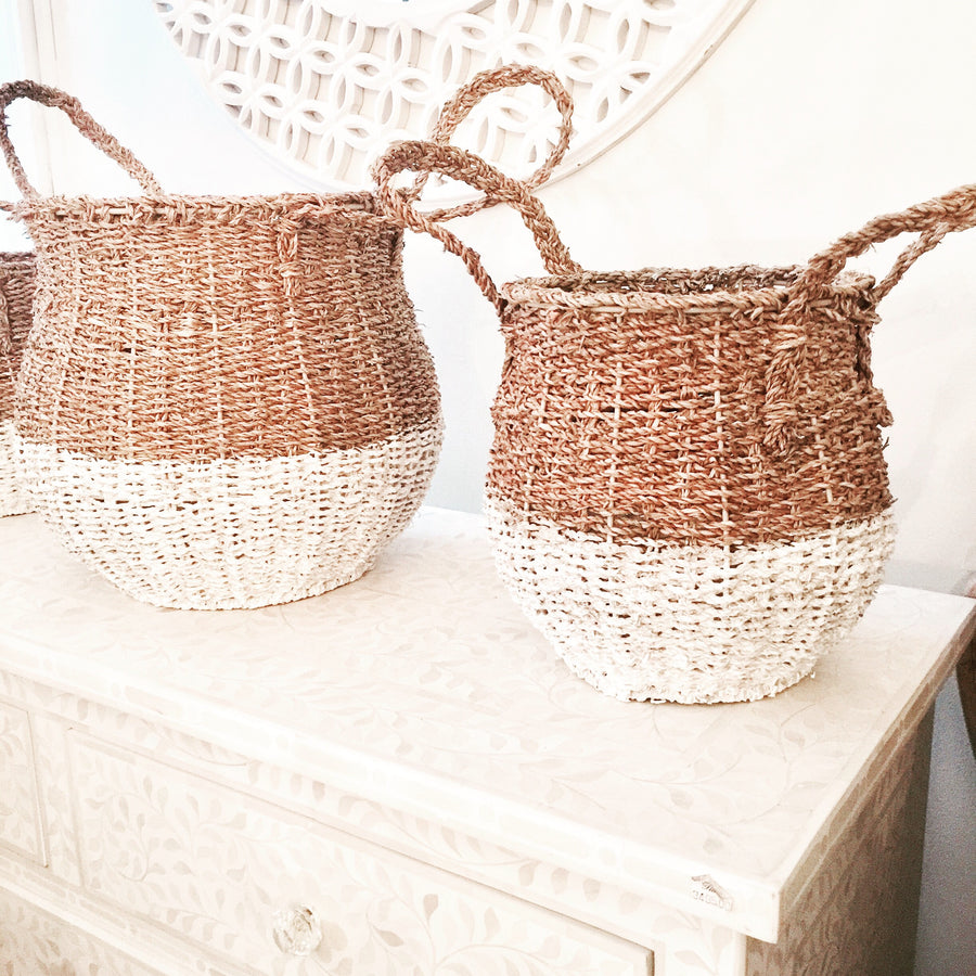 Two Tone White and Natural Tall Baskets