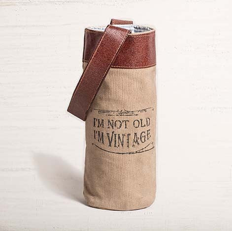 Recycled Canvas Wine Bottle Bag - Vintage