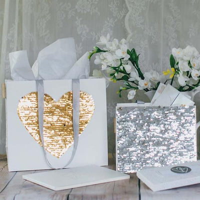 Artebene Silver and Gold Reversible Sequin Heart Gift Bag