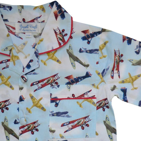 Douglas Vintage Aeroplane Pajamas-Nightwear-PC-Powell Craft Uk-Age 1-2 (Special Order 2 weeks)-Putti Fine Furnishings