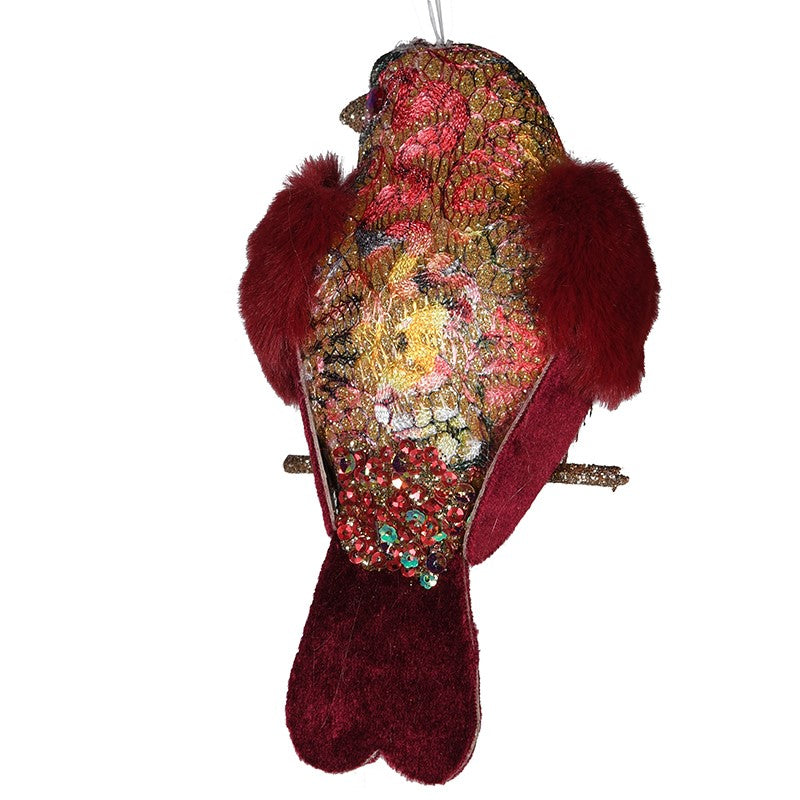 Pink Brocade Fur Wing Clip on Bird - Putti Christmas Canada