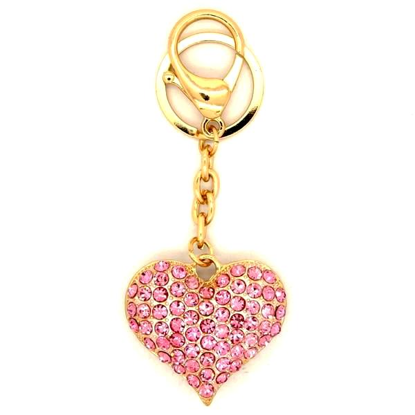 Pink Heart Crystal Bag Charm Key Chain