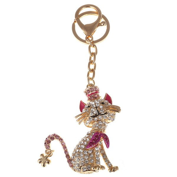 Cat with Crown Crystal Bag Charm Key Chain | Putti Fine Fashions